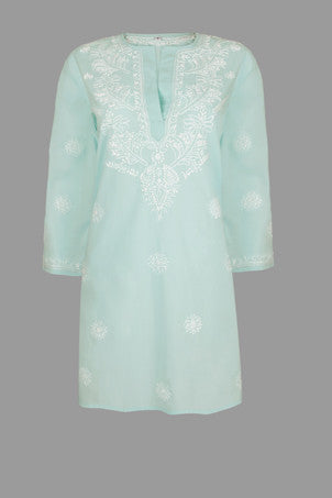 Beach Kaftan in Soft Aqua with Hand Embroidery