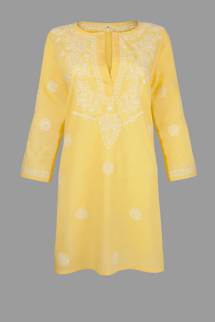 Yellow Beach Kaftan with Hand Embroidery
