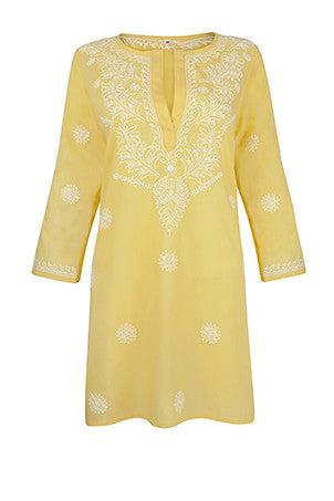 Aurora Yellow Beach Cover Up / Kaftan with Hand Embroidery
