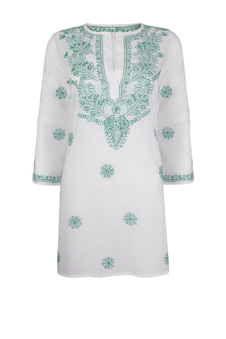 Beach Cover Up / Kaftan with Turquoise Hand Embroidery