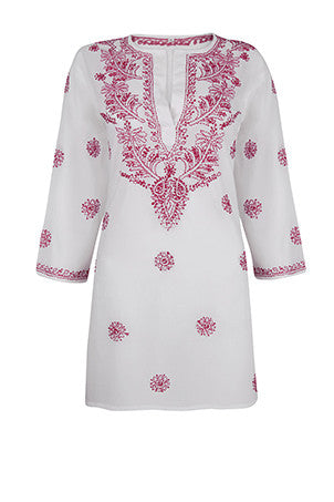 White Beach Cover Up / Kaftan with Raspberry Pink Hand Embroidery