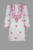 White Beach Kaftan / Beach Cover-up with Raspberry Pink Hand-Embroidery