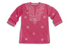 Mini Raspberry Pink Embroidered Beach Cover up / Kaftan