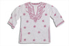 Mini Raspberry Pink on White Embroidered Beach Cover up