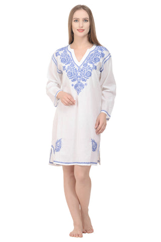 Aurelia Kaftan/Beach Dress in White with Cornflower Embroidery
