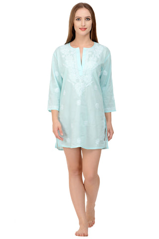 Beach Cover Up / Kaftan in Aqua with Hand Embroidery
