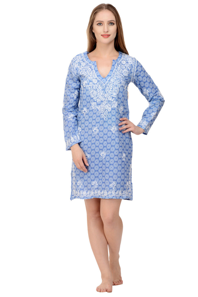 Exquisite Embroidery on a Blue Daisy print Kaftan caftan beach cover up
