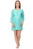 Deep Turquoise Beach Kaftan / Beach Cover-Up with Hand-Embroidery
