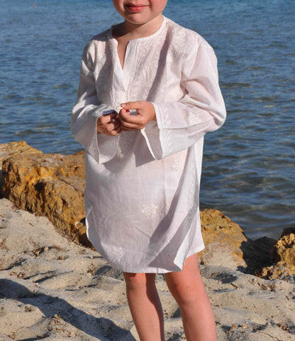 Mini White Embroidered Beach Cover Up / Kaftan