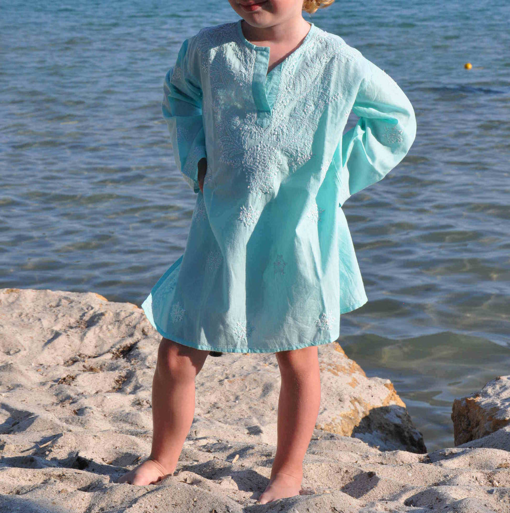 Mini Soft Aqua Embroidered Beach Kaftan