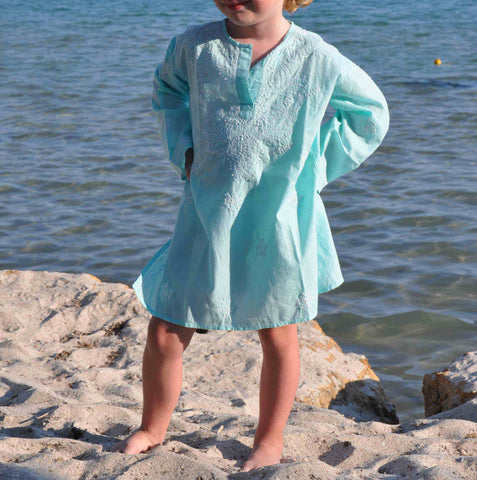 Mini Aqua Embroidered Beach Cover Up / Kaftan