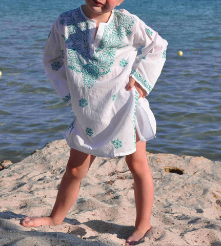 White Beach Cover Up, Kaftan with Turquoise Hand Embroidery for Kids