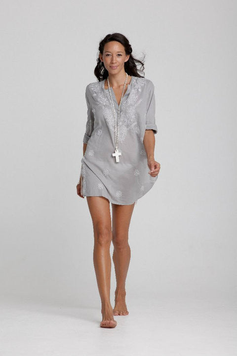 Soft Grey Beach Cover Up/Kaftan with White Hand Embroidery