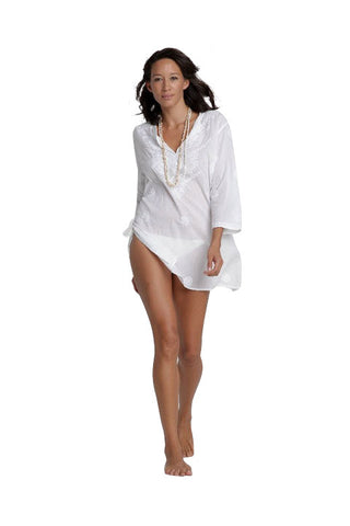 White Beach Cover Up/Kaftan with Hand Embroidery