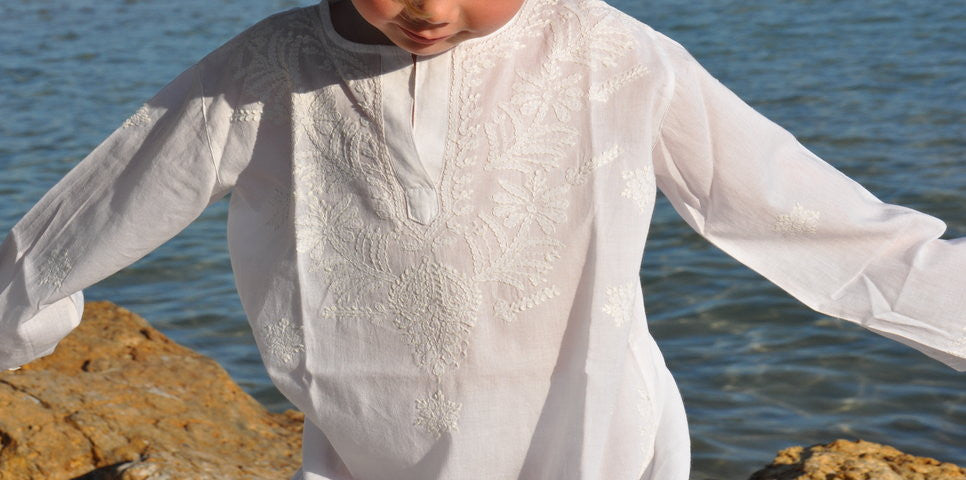 Kid's White Kaftan