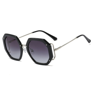 Neutral Fashion Large Frame Polygon Sunglasses