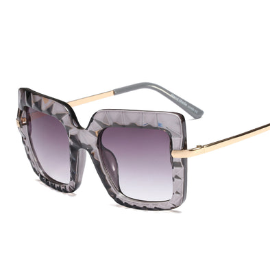 Neutral Fashion Large Frame Irregular Sunglasses