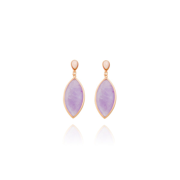 amethyst and pink mother of pearl earrings