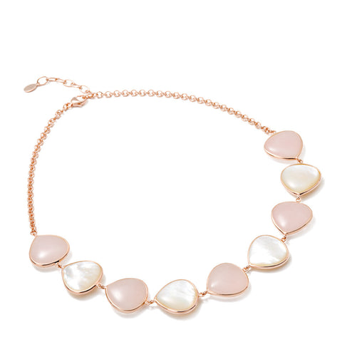 Rose quartz and mother of pearl necklace