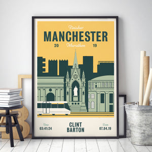 Manchester Marathon personalised print in frame