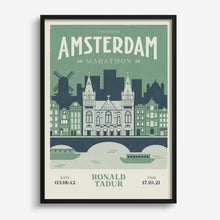Load image into Gallery viewer, Amsterdam Marathon personalised print frame