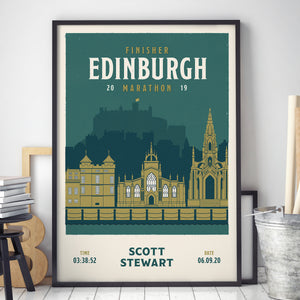 Personalised Edinburgh Marathon Race print in frame