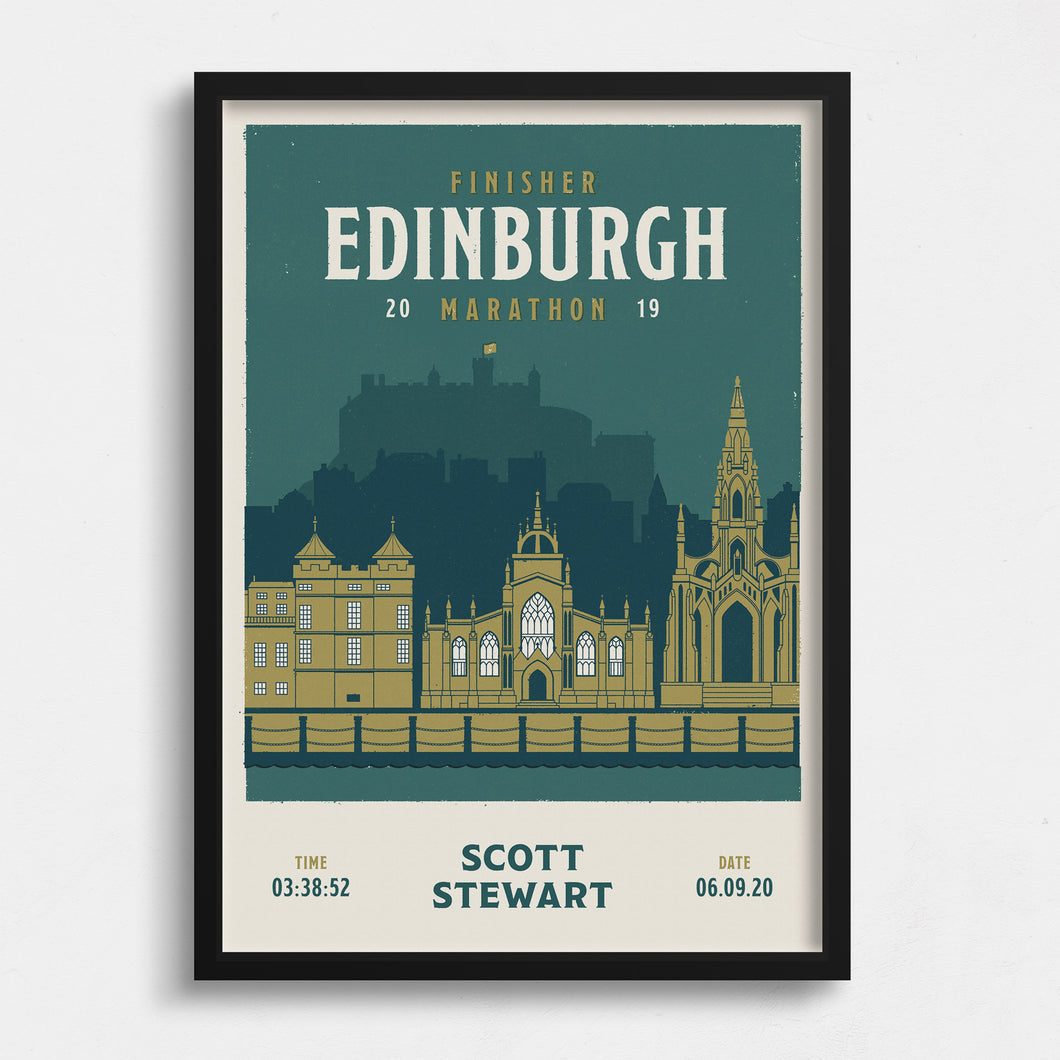 Personalised Edinburgh Marathon Race print  close up