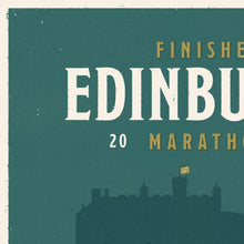 Load image into Gallery viewer, Personalised Edinburgh Marathon Race print  close up 1