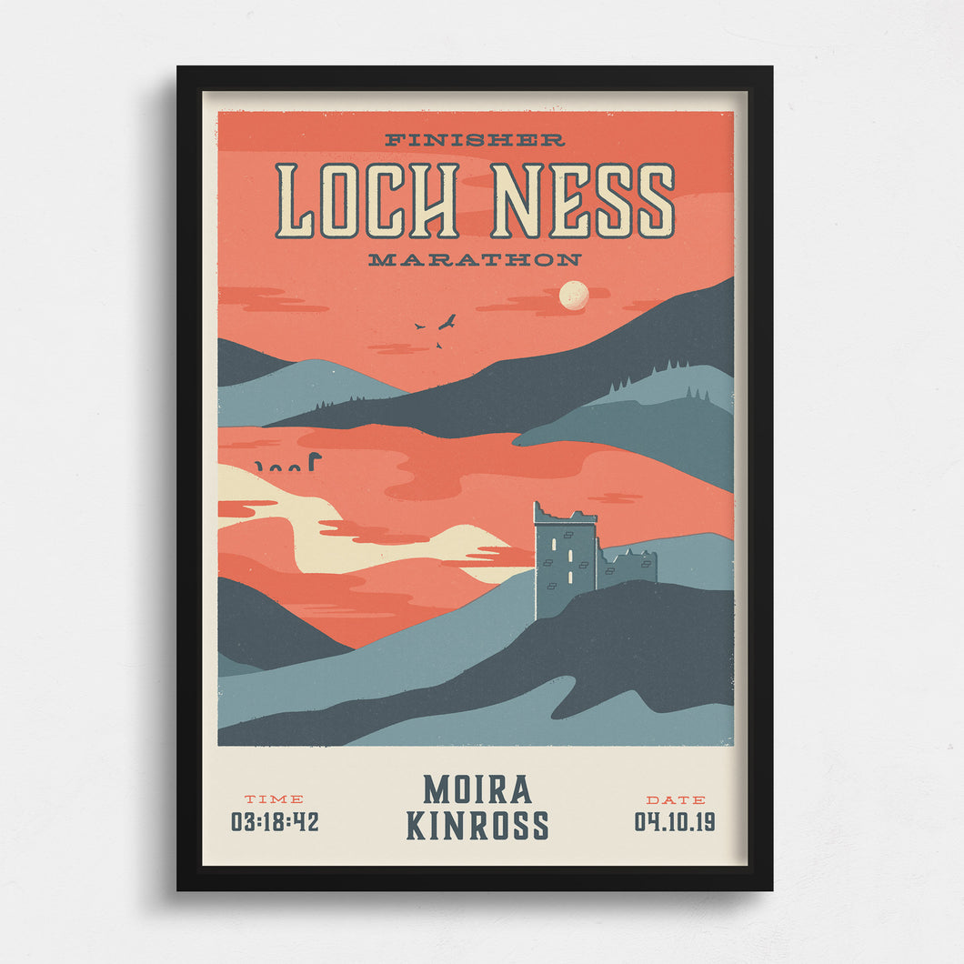 Personalised Loch Ness Marathon Race print  in frame