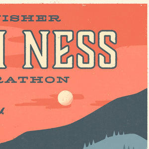 Personalised Loch Ness Marathon Race print  close up