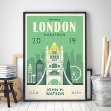 Load image into Gallery viewer, London Marathon Personalised print black frame