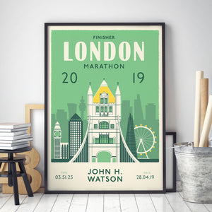 London Marathon Personalised print black frame