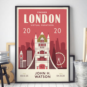 Virtual London Marathon 2020 Personalised Print