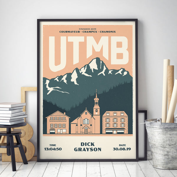 UTMB personalised print black frame