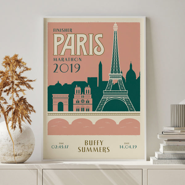 Paris Marathon personalised print white frame