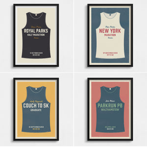 Personalised Running Vest Print no stripes (more colours available)