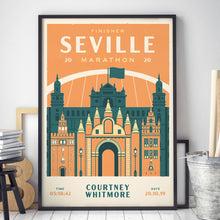 Load image into Gallery viewer, Personalised Seville Marathon print in frame