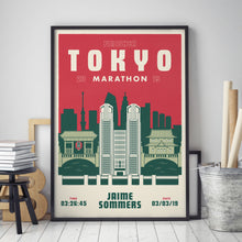 Load image into Gallery viewer, Tokyo Marathon personalised print black frame