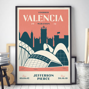 Personalised Valencia Marathon Print in frame