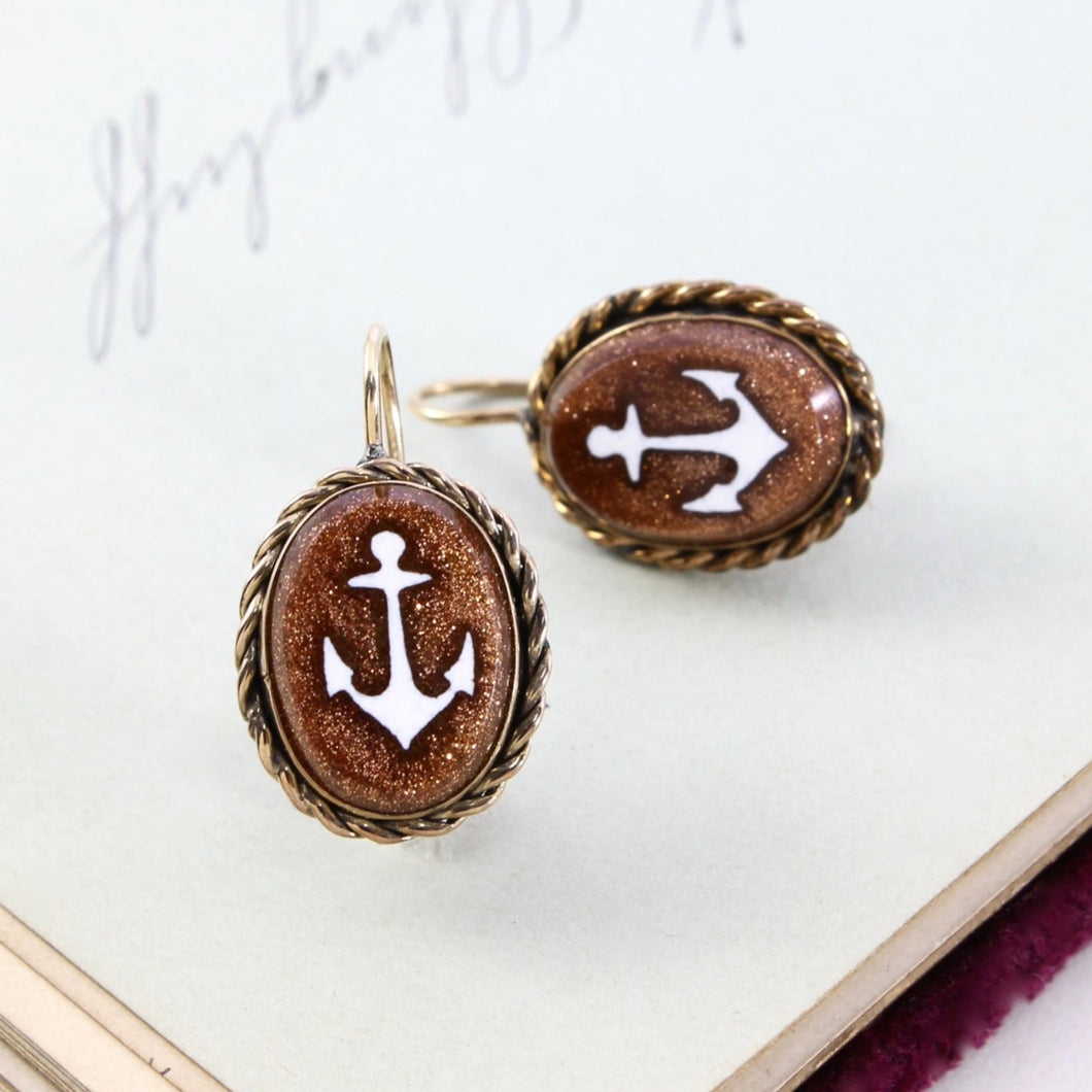 Victorian Anchor Earrings, Antique Yellow Gold Filled Aventurine Glass Anchor Hope Motif, Sailor Sailing Bridal Anniversary Gift Jewelry