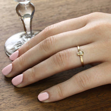Load image into Gallery viewer, 14k Gold & Diamond Tiny Skull Ring, Yellow Gold Catacomb Single Skull Stacker Stacking Ring, Alternative Bohemian Engagement Wedding Band