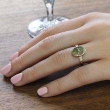 Load image into Gallery viewer, Gold Quartz & Diamond Ring, 14k Rose and Yellow, Victorian Gold Rush Souvenir Conversion, Minimalist Bohemian Statement Jewelry Ring