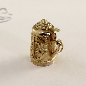 Vintage 14k Beer Stein Charm, Yellow Gold Pill Box Mechanical Tankard Mug, German Travel Souvenir Pendant Gift Jewelry