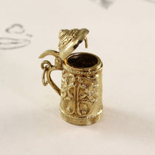Load image into Gallery viewer, Vintage 14k Beer Stein Charm, Yellow Gold Pill Box Mechanical Tankard Mug, German Travel Souvenir Pendant Gift Jewelry
