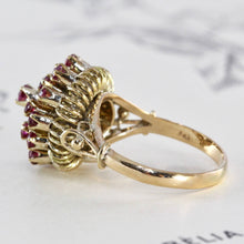 Load image into Gallery viewer, Vintage Thai Princess Ring, 14k Natural Ruby Dome Harem Cocktail Ring, Bohemian Boho Statement, July Birthstone Jewelry