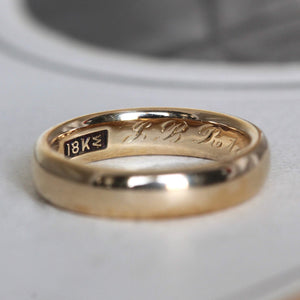 Antique 18k Wedding Band, Edwardian Heavy Yellow Gold Stacking Stackable Ring, Engraved Date 1912