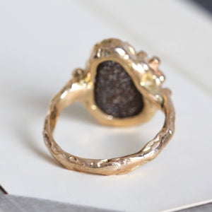Hammered Gold Boulder Opal Ring, 14k Organic Branch Multistone Statement Jewelry