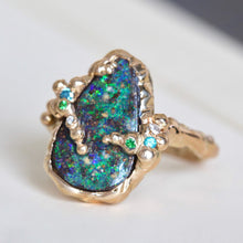 Load image into Gallery viewer, Hammered Gold Boulder Opal Ring, 14k Organic Branch Multistone Statement Jewelry