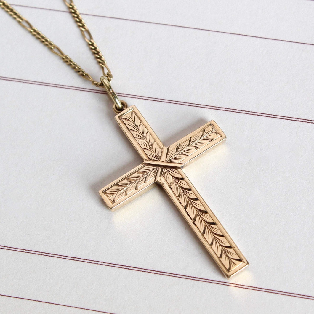 Vintage Large 10k Cross Pendant Necklace, Yellow Gold Engraved Acanthus Motif, Communion Gift Bridal Jewelry
