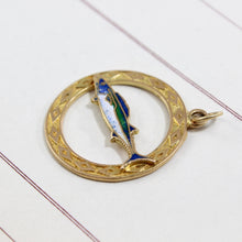 Load image into Gallery viewer, Vintage 14k Enamel Fish Charm, Yellow Gold Bermuda Souvenir Pendant